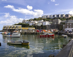 Inner_Panorama0 (Roger Brown (General)) Tags: mevagissey nestles small valley faces east bay inner outer harbours busy mixture pleasure vessels working fishing boats major industry village centre consists narrow streets eat shops aimed tourist trade first recorded mention dates from 1313 porthhilly evidence settlement dating back bronze age roger brown canon 7d sigma 18250mm