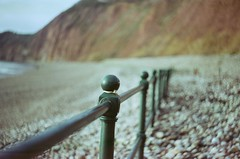 Railings (ifleming) Tags: vintagelens helios44 pentaxmx cinestill50d cinestill railings sidmouth