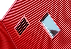 Window and Vent (Karen_Chappell) Tags: window vent lines tilt angle building red white metal steel architecture mileone stjohns canada atlanticcanada avalonpeninsula eastcoast newfoundland nfld city urban downtown abstract