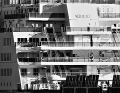 Princess Seaways Stern Viewing Decks (Gilli8888) Tags: nikon p900 coolpix northshields tyneandwear northtyneside northeast blackandwhite portoftyne vessels northsea princessseaways rivertyne port dfds dfdsferry ship ferry windows stairs steps decks
