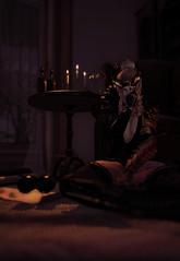 087. Dybbuk. (fashionmaul) Tags: boy boi man male men menswear femboy femboi fashion second life sl secondlife virtual black demon horns candles