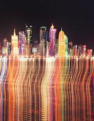 Dohalectric (Lightbath) Tags: doha qatar skyline icm intentionalcameramovement travel tourism canon