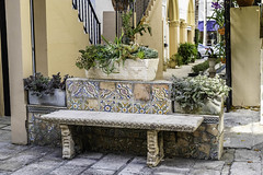 XPro2-2019-0460 (Mark*f) Tags: worthavenue archway bench bougainvilleavines courtyards figs fountain orchids succulents views window
