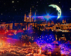 A New World (brillianthues) Tags: abstract moon night sky city future colorful collage photography photmanuplation photoshop