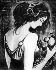 Un Fantôme: Le Portrait (Skyler Brown Art) Tags: art artwork bw baudelaire beautiful blackwhite blackandwhite blackhair body brunette charcoal dark dramatic drawing face fashion female girl gorgeous gothic greyscale hair pale paper people portrait pretty skin text woman