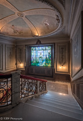 Grand Staircase, Swannanoa Palace (KRHphotos) Tags: stairs hdr architecture abandoned virginia stainedglasswindow swannanoapalace