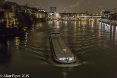 The Rhein at Basel (Night) (PapaPiper) Tags: rhein basel switzerland river riverscape boat boats barge cargo freight night nightscape city transport