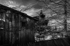 Poland Zakopane (mlk.dahoui) Tags: church tree house cabin wood wooden winter cold poland mountain zakopane snow sky clouds fence windows old blackandwhite nikon d750 24120 travel