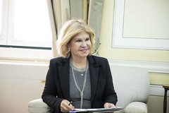 Isabel Meirelles em reunião com Andrius Kubilius na Sede Nacional