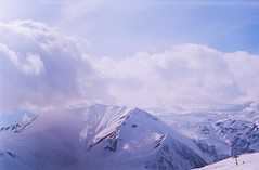 (Tamar Burduli) Tags: tamarburduli 35mm nature landscape film analog mountains mountainscape clouds sky skyscape sun light paragliding flying travel gudauri georgia zenit kodak purple purplesnow