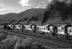 Cutting out the Swings (jamesbelmont) Tags: utahrailway soldiersummit utah alco rsd4 rsd5 helper swinghelper railroad railway locomotive train coal summit monochrome
