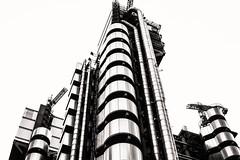 Lloyd's Insurance--HQ (PAJ880) Tags: lloyds insurance headquarters london uk architecture richard rogers 1986 insideout city bw mono