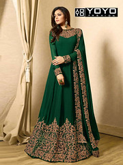 Designer Green #EmbroideredAnarkaliSalwarSuit Online On #YOYOFashion. (yoyo_fashion) Tags: style fashion dresses anarkalisuit suits shopping offers anarakalisalwarsuit