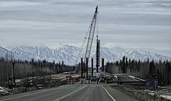 New bridge going up . . . (JLS Photography - Alaska) Tags: bridge alaska alaskanscenery roadconstruction bridgeconstruction mountains hdr jlsphotographyalaska spring crane
