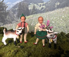 Spring in the Alps (Foxy Belle) Tags: doll caco miniature mountain goat outside diorama plants bavarian german traditional folk clothing costume green red white family children schleich kid bell 118