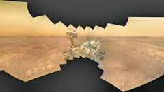 Curiosity on a Hazy Day 1, variant (sjrankin) Tags: 17january2019 edited panorama nasa mars msl curiosity galecrater selfie selfportrait dust haze sky mountains sand rocks 1362mb large