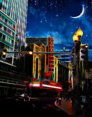 BOSTON THEATER DISTRICT (Bill Sargent) Tags: boston paramount theater night moon washingtonstreet awardtree