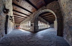 Flashback to the 12th century (PeterThoeny) Tags: gavirate italy chiostrodivoltorre chiostrodellachiesadismicheleavoltorre house monastery cloister quadrangle arcade romanesque romanesquecloister cloistervault ceiling building architecture hallway arch day indoor sony sonya7 a7 a7ii a7mii alpha7mii ilce7m2 fullframe rokinon12mmf28 fisheye fisheyelens wideangle monochrome blackandwhite 1xp raw photomatix hdr qualityhdr qualityhdrphotography fav200
