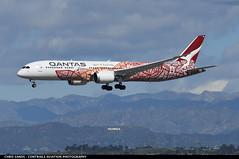 Qantas B789 VHZND (Sandsman83) Tags: losangeles klax lax airplane plane aircraft qantas boeing 787 dreamliner yam dreaming specialscheme speciallivery oneworld vhznd landing hollywood