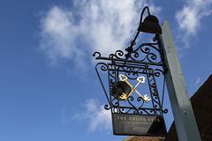 The Cross Keys sign against blue sky (Adnams) Tags: thecrosskeysaldeburgh crosskeys aldeburgh suffolk pub adnams