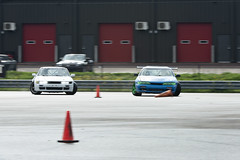 In Tandem (Find The Apex) Tags: nolamotorsportspark nodrft drifting drift cars automotive automotivephotography nikon d800 nikond800 nissan 240sx nissan240sx s13 s14 tandemdrift tandem tandemdrifting tandembattle