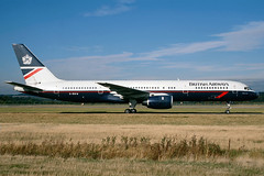 G-BIKW British Airways Boeing 757-236 at Edinburgh in October 1997 (Zone 49 Photography) Tags: aircraft airliner airlines airport aviation plane 1997 edi egph edinburgh turnhouse scotland ba baw british airways britishairways boeing757 boeing 757 200 228 gbikw