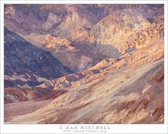 Desert Canyon, Evening Light (G Dan Mitchell) Tags: deathvalley national park artist palette road black mountains rugged eroded hills arid colorful wash valley terrain evening light california usa north america landscape nature canyon
