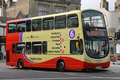 BJ11 XHG, Trafalgar Square, Brighton, August 6th 2015 (Southsea_Matt) Tags: bj11xhg 407 route49 wright eclipse gemini volvo b9tl brightonhove goahead trafalgarsquare brighton sussex canon 60d 1850mm august 2015 summer bus omnibus vehicle transport kingedwardvii