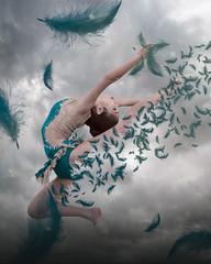 The Gymnast (lapointegenevieve60) Tags: photoshoot photoshop montage composite nikon portrait gymnast dancer feather blue genevievelapointe genevievelapointephotography woman girl