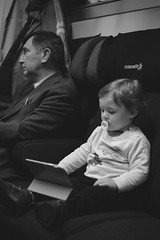 Business trip, keep silence please. (mm80_photography) Tags: train bw babyboy silence