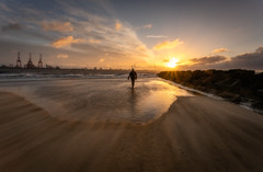 Like A Moth.... (Rob Pitt) Tags: newbrighton beach sunrise wirral silhouette clouds water sony 1740 a7rii