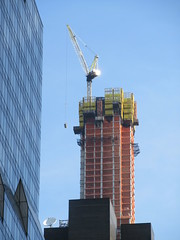 Pencil Tower under Construction 57th Street NYC 3844 (Brechtbug) Tags: 111 west 57th street pencil tower under construction nyc 2019 new york city st building sky scraper skyscraper towers architecture buildings march 03142019 crain lifting box seen from times square broadway