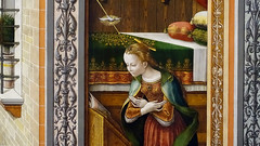 Crivelli, The Annunciation, detail with dove and Mary