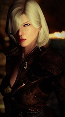 Leona - Thief's Stare (DiamondbackVIII) Tags: elder scrolls v skyrim blonde hair blue eyes leona thieves guild clothes beauty mark