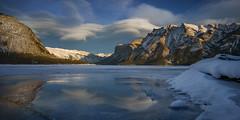 'Lenticular Swirl' - Lake Minnewanka (Gavin Hardcastle - Fototripper) Tags: banff national park lake minnewanka sunset alpenglow lenticular clouds reflection winter snow ice cold