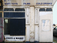 jokes and masks (steve marland) Tags: blackpool shop shopfront shopwindow abandoned closed urban urbandecay uk typography type graphicdesign ghostsign sign seaside streetphotography streets england north words