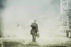 Crossing the tundra in the city... (cesar.toribio1218) Tags: steam nycphotography nycstreet streetphotography pictures blackandwhitephotos monochrome citypeople thebigapple downtownny peopleofnewyork mystery moods