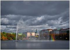 A cityview of Hamburg (kurtwolf303) Tags: deutschland hamburg stadt city cityview kurtwolf303 germany mft omd microfourthirds olympusem5 sky clouds himmel wolken urban binnenalster alsterfontäne wasser waterfountain