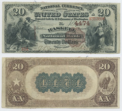 United States $20.00 (twenty dollars) national currency (SMU Libraries Digital Collections) Tags: texas money national us united states currency paper banks notes note banknote banknotes chartered bank banking haskell haskellcounty