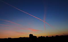 Pink Plane Trails (Sebastian Pier Filip) Tags: canon g16 compact pocketablecamera powershot sky trails pink bluesky sunset sofia bulgaria 28mm landscape