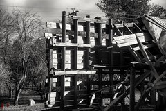 Last wall standing (BillRhodesPhoto) Tags: billrhodes asheville nc blackandwhite monochrome barn blackoakcove ruin wood