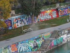 Graffiti Gallery (mikecogh) Tags: vienna graffiti canal tags publicart gallery steps colourful colorful