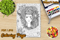Goddess Flora Coloring page (Shoppy76) Tags: goddess flora illustration coloringpage digitalstamp handdraw flowers pattern doodle female face ribbons woman coloring garden life arttherapy joy wellness relax organic leaves petals nature hearts drawing headdress magic charm beauty flower spring