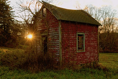 A Little Sun On a Little Barn (SunnyDazzled) Tags: red barn sun sunset rural abandoned sunlight warm evening farm farmland wooden boards decay building outbuilding history