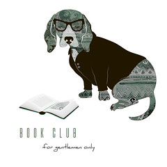 signboard for book club (heliga3333) Tags: cartoon art book business club communication connection education element group icon illustration information learning library page people person profile reading school sign student study symbol team teamwork together vector white dog basset gentlemen spectacles glasses