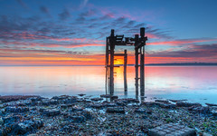 Fiery Dawn (nicklucas2) Tags: seascape beach lepe dolphin cloud lowtide isleofwight sea seaweed solent dawn