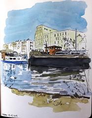Reims le canal (m.JaKar) Tags: carnetdevoyage croquis dessinurbain france insitu usk péniche urbansketchers