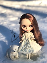 The young princess and Valemon were happy together, until she peeked at him while he slept. With that, the witch's curse was fulfilled! Bianca Pearl wears Gerda Eternity stock. (Painters Life) Tags: takara valemon snow polarbear anniversaryblythe blythe biancapearl