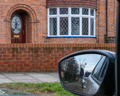 Front door with picture of the five-sail Holgate Windmill, seen in my wing mirror