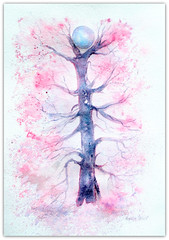 2019/ watercolour:...'between two', an act of balance...(symbolic) (Nadia Minic) Tags: symbolic watercolour between two balance tree ball pink art painting nadiaminic luxembourg